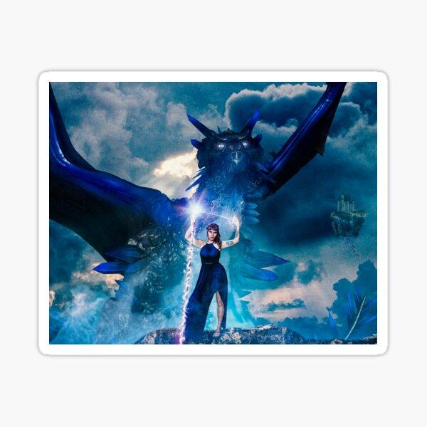 Wizard calls her dragon Sticker
