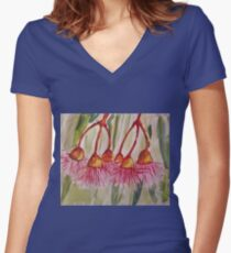 Gum Blossoms  Women's Fitted V-Neck T-Shirt