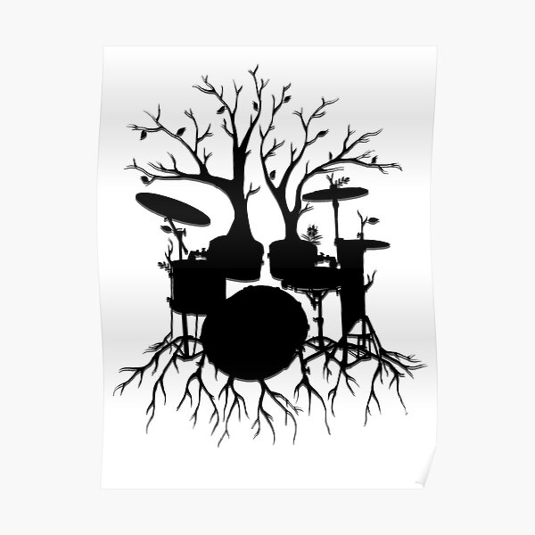 """""""Live the Beat to the Tempo of Creation"""" ~ drum tree art, version2 Poster"""