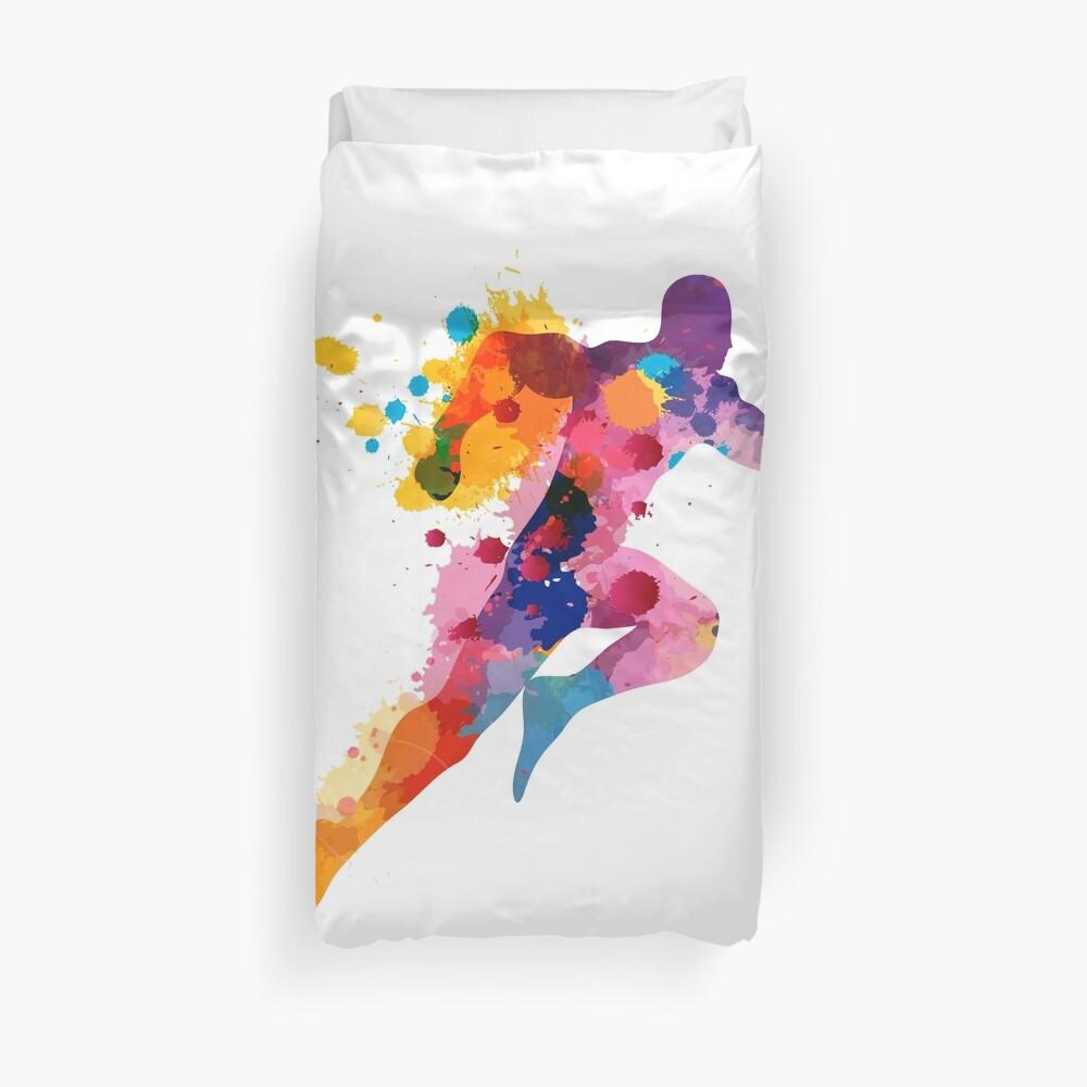 Watercolor running man Duvet Cover