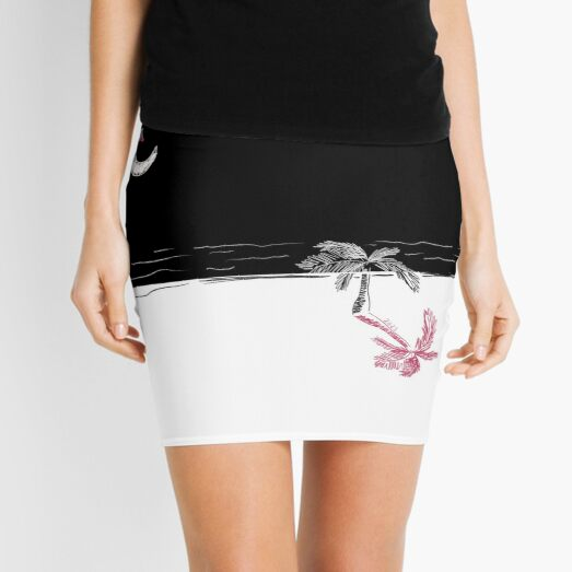 Crescent moon at the beach with cherries - 2021 Mini Skirt