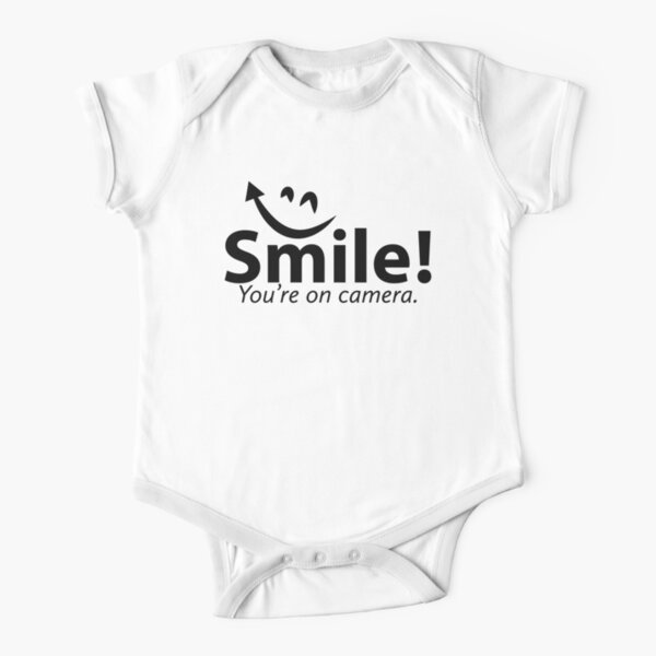 Smile You're re on Camera  Short Sleeve Baby One-Piece