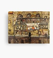 Egon Schiele - House Wall on the River (1915)  Canvas Print