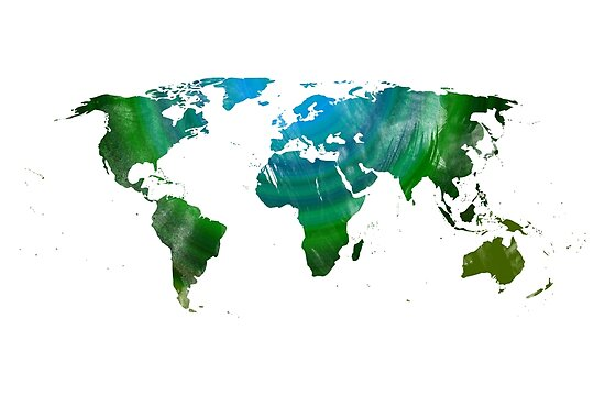 Green watercolor World map by adiosmillet