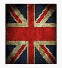 Antique Faded Union Jack UK British Flag Photographic Print