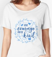 Have Courage and Be Kind Typography Cobalt Blue Relaxed Fit T-Shirt