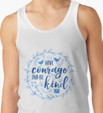 Have Courage and Be Kind Typography Cobalt Blue Tank Top
