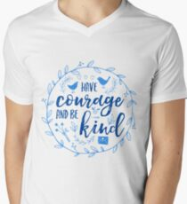 Have Courage and Be Kind Typography Cobalt Blue V-Neck T-Shirt
