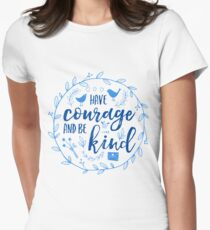Have Courage and Be Kind Typography Cobalt Blue Fitted T-Shirt