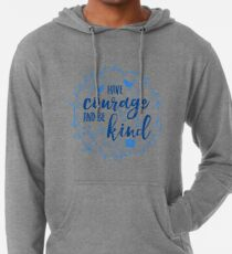 Have Courage and Be Kind Typography Cobalt Blue Lightweight Hoodie