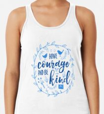 Have Courage and Be Kind Typography Cobalt Blue Racerback Tank Top