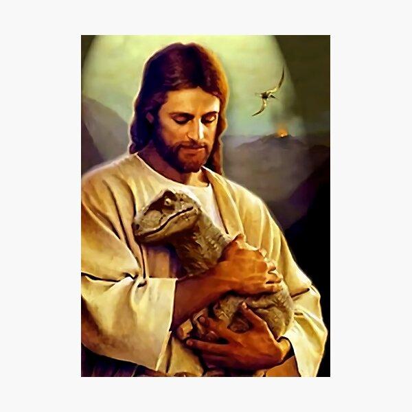 Jesus Holding the Dinosaur Photographic Print