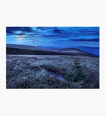 moon light on stone mountain slope with forest Photographic Print