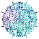 Iridescent Aqua and Purple Watercolor Mandala  by micklyn