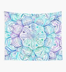 Iridescent Aqua and Purple Watercolor Mandala  Wall Tapestry