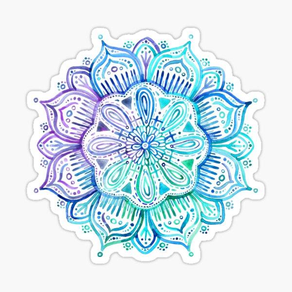 Iridescent Aqua and Purple Watercolor Mandala  Sticker