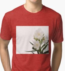 White Oleander Flowers Close Up Isolated On White Background  Tri-blend T-Shirt