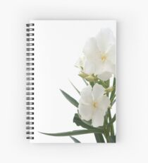 White Oleander Flowers Close Up Isolated On White Background  Spiral Notebook