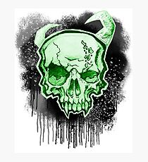Green Demon Skull Photographic Print