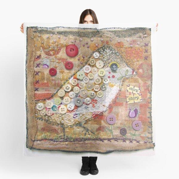 Chirp Bird Buttons Textile Quilt Art Scarf