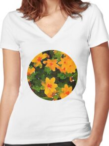 Wild Floral Watercolour Women's Fitted V-Neck T-Shirt