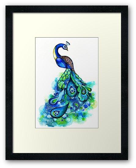 Peacock Watercolor by Annya Kai