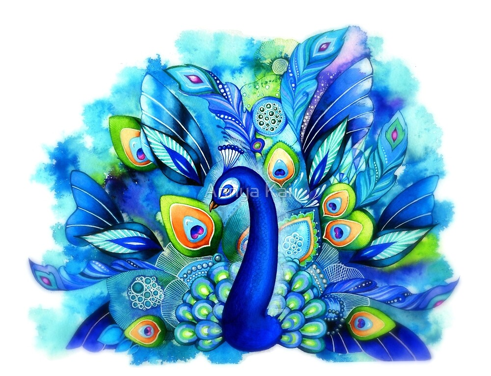 Peacock in Full Bloom by Annya Kai