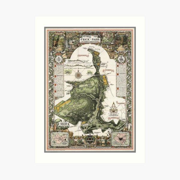 Frick Park Map 1954 - Limited Edition Art Print