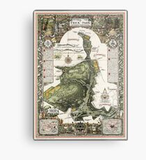Frick Park Map 1954 - Limited Edition Metal Print