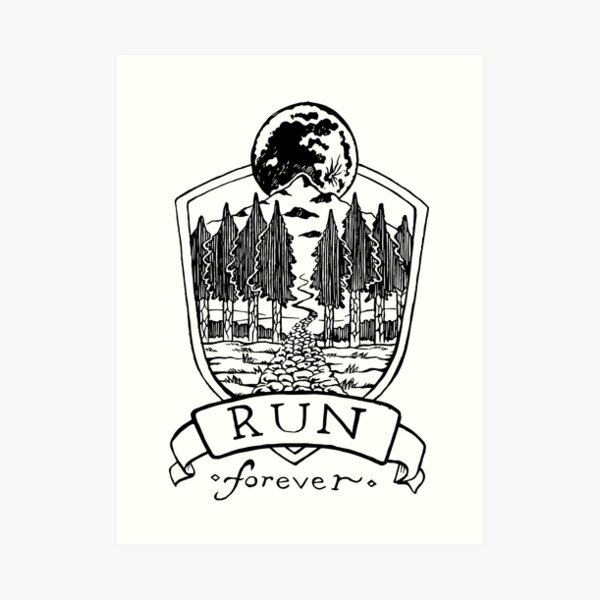 Run Forever - Moon Emblem  Art Print