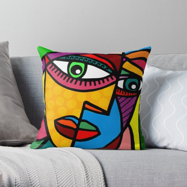 Funky Abstract Face Throw Pillow