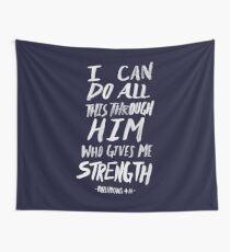 Philippians 4: 13 x Navy Wall Tapestry