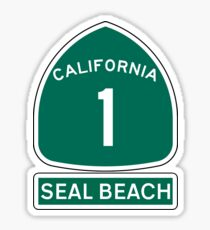 PACIFIC COAST HIGHWAY SEAL BEACH CALIFORNIA ROUTE 1 Sticker