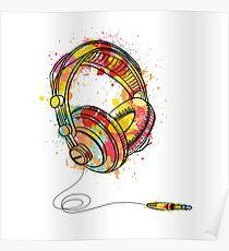 Watercolor Headphones Poster