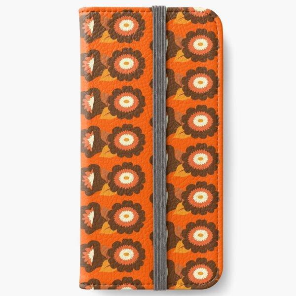 Retro Orange and Brown Flowers iPhone Wallet