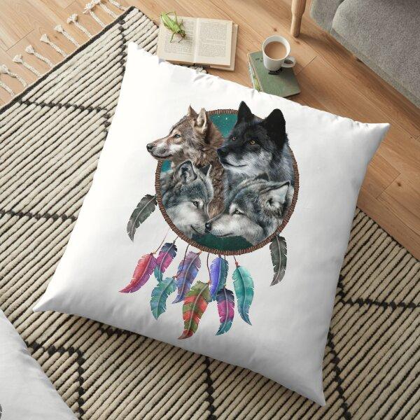 Four Wolf Team Dream Catcher Floor Pillow