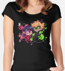 Chibi Time! Ladybug & Cat Noir Women's Fitted Scoop T-Shirt