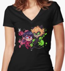 Chibi Time! Ladybug & Cat Noir Women's Fitted V-Neck T-Shirt