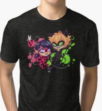 Chibi Time! Ladybug & Cat Noir Tri-blend T-Shirt