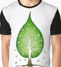 Green leaf shaped tree nature fractals concept art photo print Graphic T-Shirt