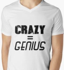 CRAZY = GENIUS Men's V-Neck T-Shirt
