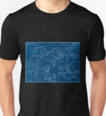 0040 Railroad Maps Skeleton map of rail-roads between Cape Canso and St Inverted T-Shirt