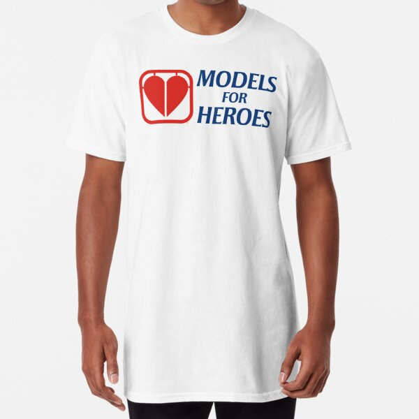 """Models for Heroes """"Heart Part"""" with landscape text for light backrounds Long T-Shirt"""