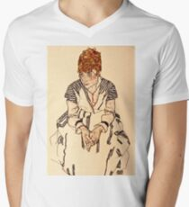 Egon Schiele - Portrait of the Artists Sister in Law, Adele Harms, 1917  Mens V-Neck T-Shirt