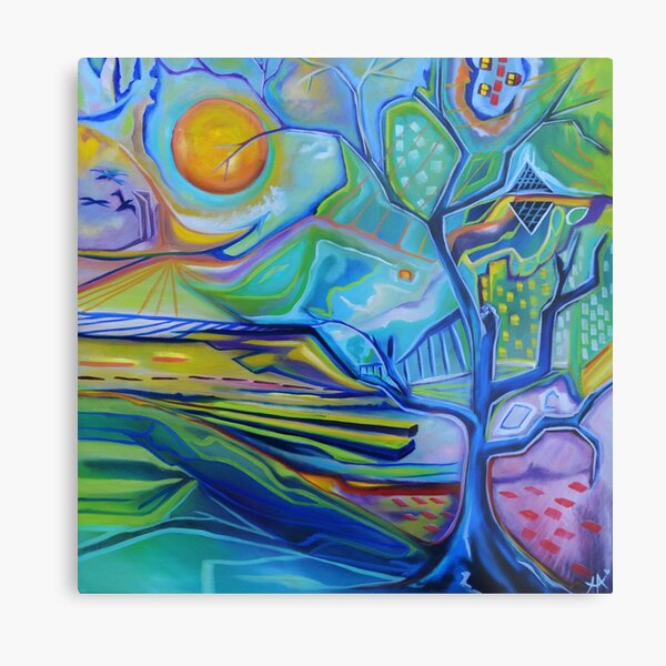 Under the origami sun all the accidents lie   Metal Print