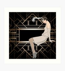 Art deco,gold,black,pattern,cute,Flapper girl,beautiful,elegant,chic,The Great Gatsby,vintage,retro, Art Print
