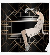 Art deco,gold,black,pattern,cute,Flapper girl,beautiful,elegant,chic,The Great Gatsby,vintage,retro, Poster