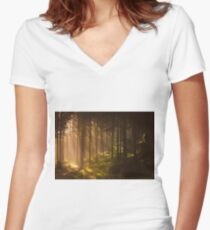 Morning forest Women's Fitted V-Neck T-Shirt