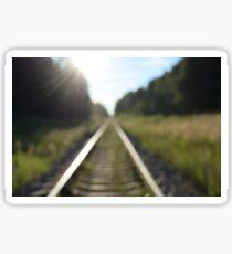 railway tracks through the forest Sticker
