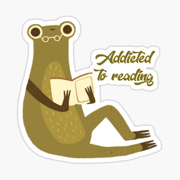Addicted to reading - Frog reading a book Sticker